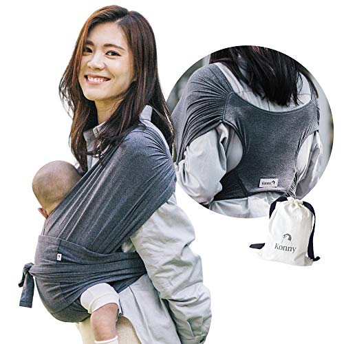 Konny Baby Carrier | Ultra-Lightweight, Hassle-Free Baby Wrap Sling | Newborns, Infants to 45 lbs Toddlers | Soft and Breathable Fabric | Sensible Sleep Solution (Charcoal, L)