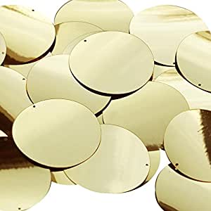 Gold Round 40mm Couture Sequin Paillettes. Made in USA. Loose sequins for embroidery, bridal, applique, arts, crafts, and embellishment.