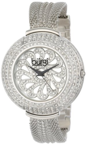 Burgi Women's BUR051SS Crystal Mesh Bracelet Watch