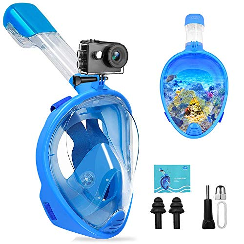 FEIYU CREATIVE Full Face Snorkel Mask - Dual-Snorkel Full Face Snorkeling Mask, 180 Panoramic View Scuba Diving Mask w/Camera Mount for Adults & Kids, Easy Breath