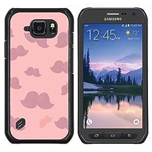 Bigote púrpura rosado Nubes minimalista- Metal de aluminio y de plástico duro Caja del teléfono - Negro - Samsung Galaxy S6 active / SM-G890 (NOT S6)