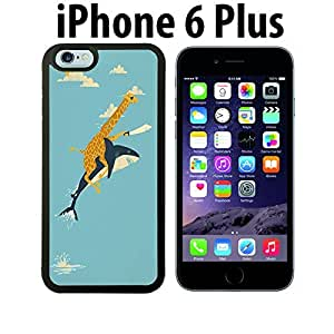 Pirate Giraffe Riding Shark Custom made Case/Cover/skin FOR iPhone 6 Plus - Black - Rubber Case ( Ship From CA) by runtopwell