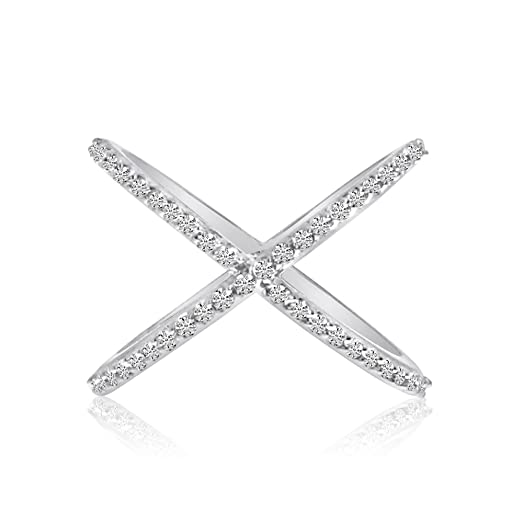 "Amazon 14k White Gold ""X"" Ring with Diamonds Jewelry"
