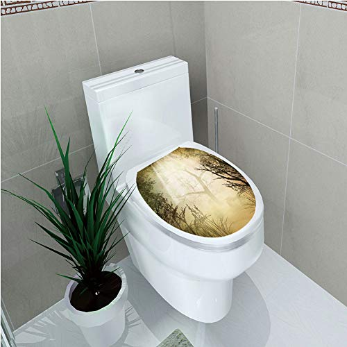Toilet Custom Sticker,Mystic Forest Decor,Fantasy Golden Mist Mystical Spot Deep Down in Forest with Sun Beam,Light Yellow,Diversified Design,W11.8