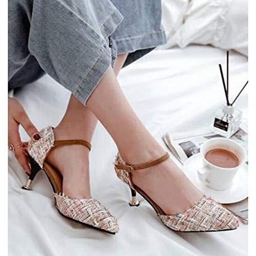 Verano Zapatos Blanco El Talón QOIQNLSN De Negro Stiletto Tacones Cloruro PVC White Polivinilo Comodidad De Mujer AwpdqzU