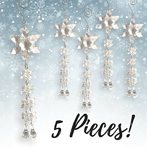 Snowflake Ornaments - Set of 5 - Acrylic Snowflake Strand with Double Hang Downs - Snowflake Drop Ornaments - Decorative Sliver S-Hook Included