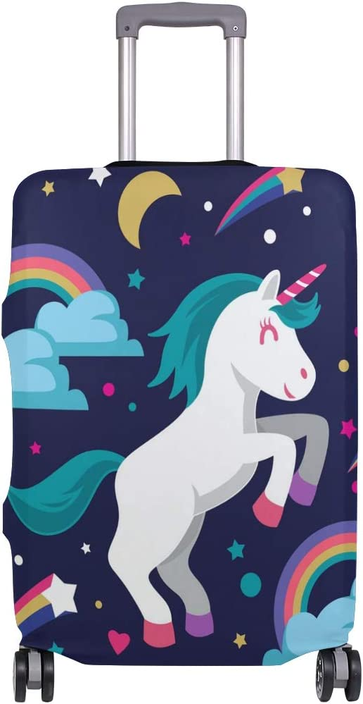 FOLPPLY Rainbow Cartoon Unicorn Stars Moons Luggage Cover Baggage Suitcase Travel Protector Fit for 18-32 Inch