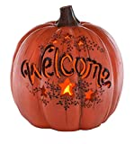 ReLive 7.5 Inch LED Lighted Fall Resin Orange Welcome Pumpkin Decor