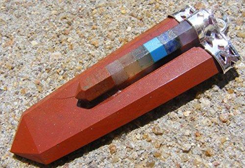 Red Jasper 6 Sided Flat Chakra Healing Pendant Mystic Balance Calm
