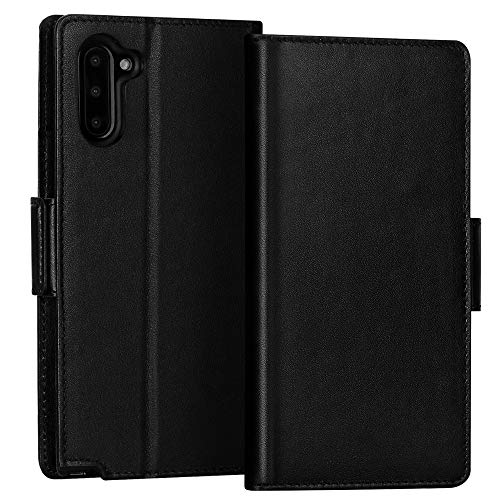 FYY Samsung Galaxy Note 10 Case, Luxury [Cowhide Genuine Leather][RFID Blocking] Handmade Wallet Case with Kickstand and Card Slots for Galaxy Note 10 Black