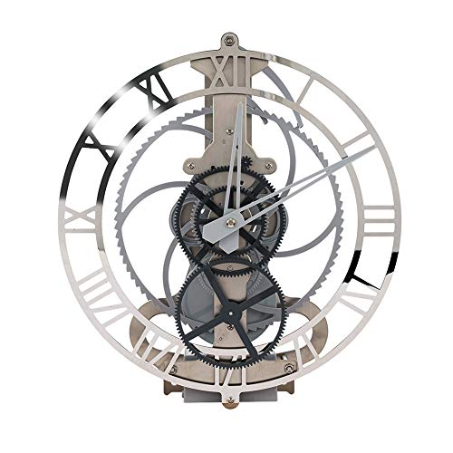 AHUA Handmade Metal Vintage Gears Wall Art Clock, Smart 3D Gear Mechanical Clock, Silver Large Retro Round Clock Art Wheel Wall Clock, Noiseless Silent Gear Wall Clock,12 Metal Roman Numeral Clock