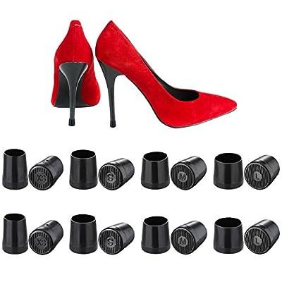 Mtlee 8 Pairs High Heel Protector Heel Repair Caps Covers, Extra Small, Small, Medium, Large, Black