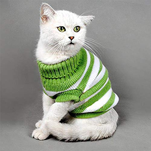 - Aiwind Warm Striped Cat Dog Sweater Soft Fall Pullover Winter Pet Clothes Braid Plait Turtleneck Knitwear for Kitten Cat Dog Puppy (M, Green and White)
