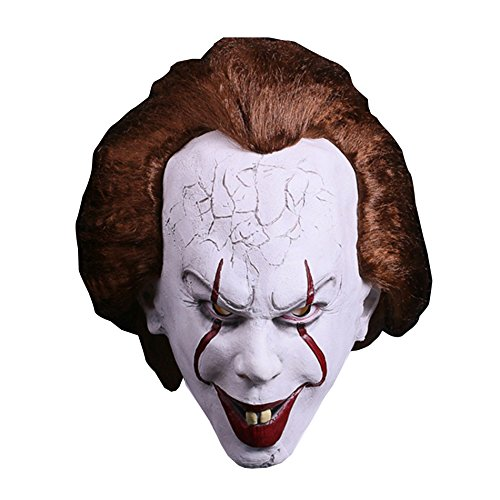 [Deluxe Latex Full Head Evil Terrifying Clown Mask For Halloween, Cosplay, Stage Performances, Party] (Deluxe Evil Clown Mask)