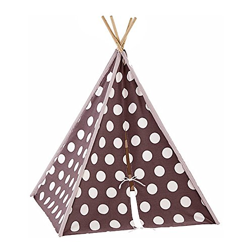 Modern Home Kid's Canvas Tepee Tent Travel Case - Brown/White Polka Dot