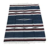 Del Mex Woven Mexican Southwest Diamond Blanket (Navy Blue)
