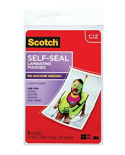 - Scotch Self-Sealing Laminating Pouches, Glossy Finish, 4 3/8 x 6 3/8 Inches, 5 Pouches (PL900G)
