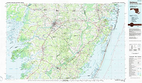 YellowMaps Salisbury MD topo map, 1:100000 Scale, 30 X 60 Minute, Historical, 1983, Updated 1984, 24.1 x 41.4 in - Paper -