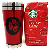 Christmas Stainless Steel Lined 16oz Coffee Bean Insulated Travel Tumbler with Starbucks Holiday Blend Coffee Gift Bundle