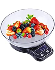 Lanka Digital Kitchen Scale Multifunction Electronic Home Food Balance Weight Scale with Removable Bowl, 11 lb 5kg,Black