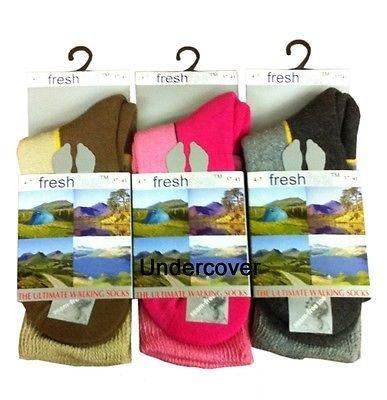 3x Fresh Feel Ladies Ultimate Walking Sock, Size UK 4-7 (EU 37-41)