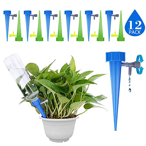 GiftedMary Plant Self Watering Spikes Devices Vacation Plant Waterer Stakes With Automatic Dripper Slow Release Valve Care Indoor Outdoor Home Office Plants 12 Pack (Dripper Stake)