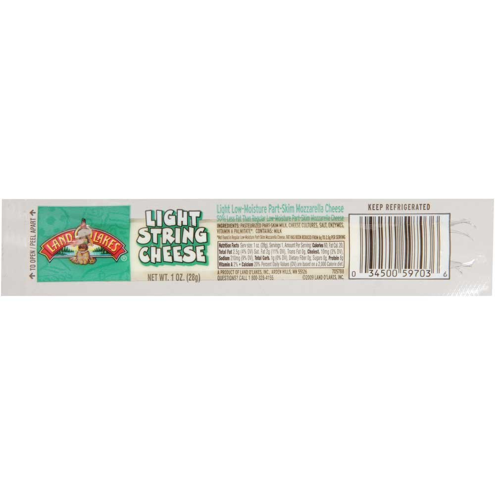 Land O Lakes Light Mozzarella String Cheese Portion, 1 Ounce -- 168 per case.