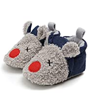YWY Infant Baby Cozy Fleece Slippers with Non Skid Bottom Newborn Boys Girls Winter Warm Socks Booties Stay On Crib House Shoes
