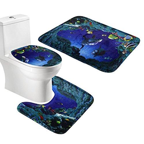 Amagical 3 Piece Bath Mat Set Sea Fishes Flannel Bathroom mat Contour Toilet Cover - Rug Boys For Bath