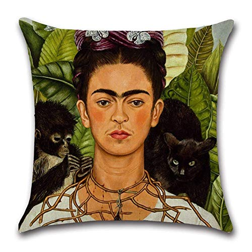 (mitotai Oil Painting Frida Kahlo Self-Portrait Throw Pillow Covers Decorative Cotton Linen Square Cushion Cover Sofa Home Pillow Covers 18x18 Inch)
