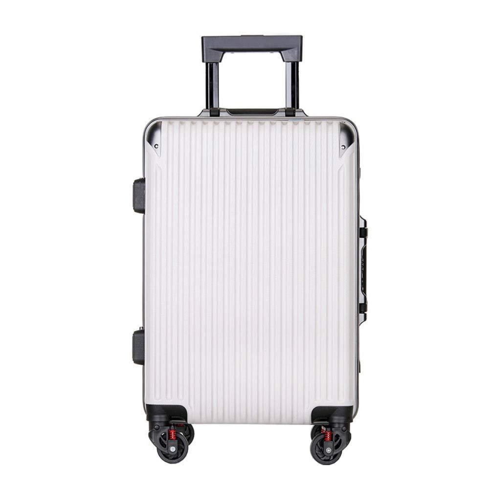 アルミフレームトロリーケース傷防止ユニバーサルホイールスーツケース男性と女性ビジネスパスワード搭乗パッケージ((20/22/24/26インチ) (Color : 白, Size : 22 inch)   B07R5QRJMX