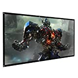 VOIMAKAS Projector Screen, 100 inch Portable Anti-Crease Foldable Projection Movies Screen with Hooks and Stickers for Outdoor Indoor Home Theater Support Front & Rear Double Sided Projection