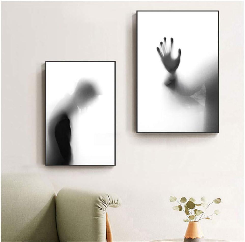 Amazon Com Empty Mirror Shadow Man Death Gaze Canvas Painting Fashion Poster Print Wall Art Picture For Living Room Salon Halloween Decor 50x70cmx2 Frameless Posters Prints
