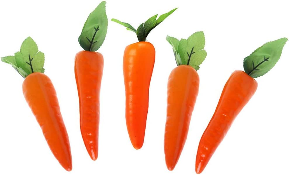 5 Pcs Plastic Carrots Simulation Carrots Fake Carrot Artificial Vegetable Carrots for Home Kitchen Party Pub Decoration