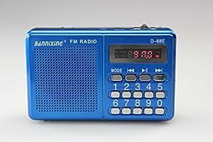 Bannixing Portable Mini USB FM Radio Speaker Music Player USB/TF Card For PC iPod Phone (D68E Blue)