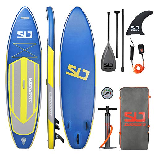 Swonder Premium Inflatable Stand Up Paddle Board, Durable & Steady, 10'6' Long 32' Wide 6'Thick, Full SUP Accessories- Paddle | Backpack | Leash | Pump | Center Fin, Paddling & Surfing