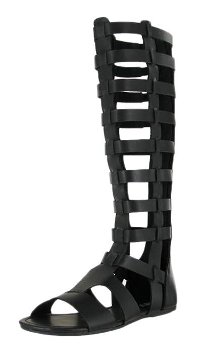 80e026c6c487 MIA Women s Duenas Wide Calf Flat Strappy Caged Gladiator Sandal