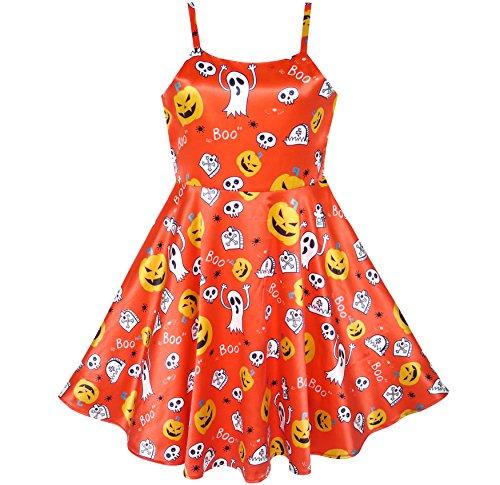 Girls Dress Halloween Pumpkin Ghost Costume Tank Dress Size 4