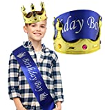Birthday Boy Blue Sash & Gold Crown (2-Piece Set); Party Accessory Set for Boy's B-Day