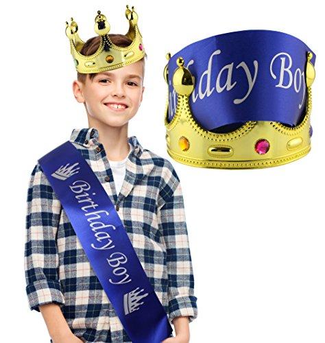 Birthday Boy Crown (Birthday Boy Blue Sash & Gold Crown (2-Piece Set); Party Accessory Set for Boy's B-Day)
