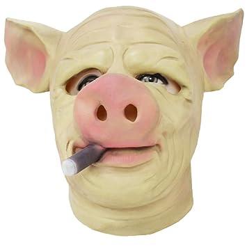 Tinksky Máscara de látex de cabeza de cerdo espeluznante Disfraces de Halloween Máscaras de locura de