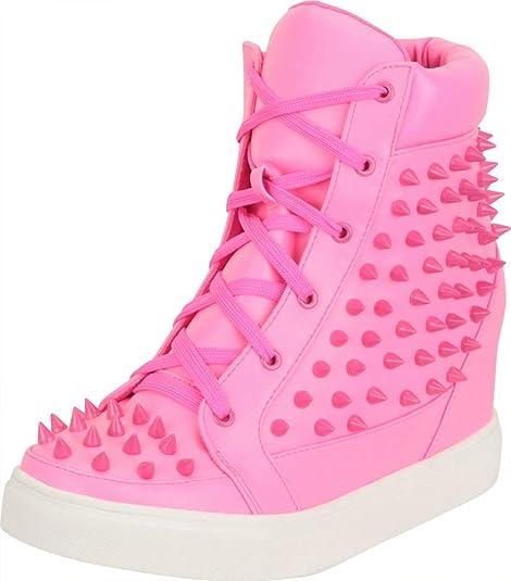 Ladies Shoes Designer Girls New Metal Stud Spike Platform Wedge Lace Punk Shoe