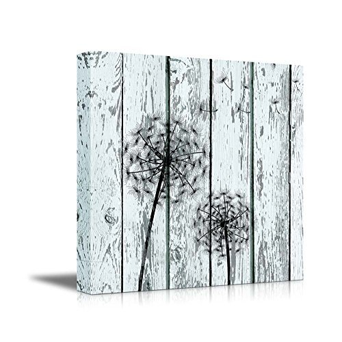 (SunShine Day Oil Painting Canvas Prints Wall Art, Dandelion on Vintage Wood Board Stretched Canvas Wrap Stretched and Framed Ready to Hang for Home Office Hall Decorations 28x28inch)