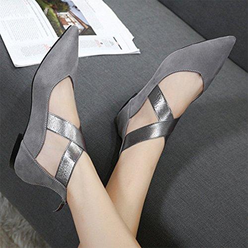 Sfnld Femmes Chic Pointu Orteil Coupe Basse Sangle Croisée Appartements Pompes Chaussures Avec Fermeture À Glissière Dos Gris