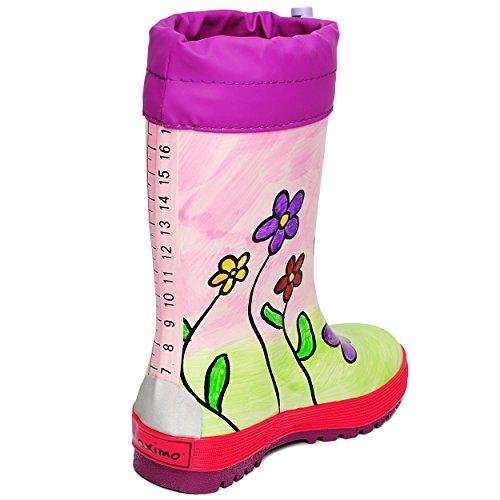 Gummistiefel -  bunte Blumen - handbemalt  - Größe 24 - Naturkautschuk - mit Reflektor + zum Schnüren & langem Nylon Schaft - Innenfutter 100 % Baumwolle / Regenstiefel - für Kinder / Mädchen - Wass