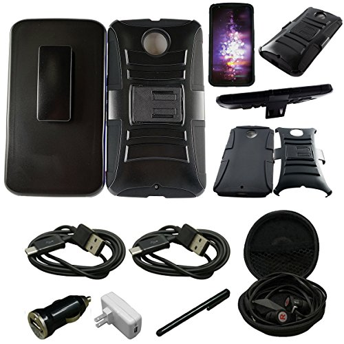 Mstechcorp - Nexus 6 Case, Nexus 6 HOLSTER Case, Google Nexus 6 Case Holster Case Cover - Dual Layer Armor Defender Protective Case Cover with kickstand and Belt Swivel Clip for Google Nexus 6 Case (2014 Release) - Includes [Car Charger + Data Cable] + [Wall Charger + Data Cable] + [Touch Screen Stylus] + [Hands Free Earphone With Carrying Case] (HOLSTER BLACK)