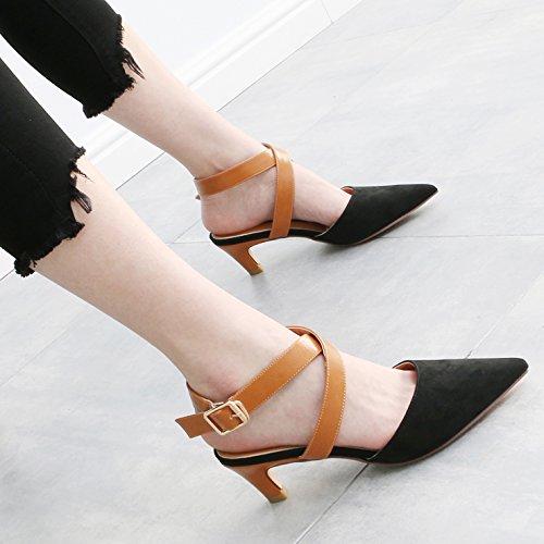die damit HGTYU Slotted Baotou der Im Damen Absatz Sandaletten 6Cm Schuhe The Spitze Wildnis in hohem und Cross Sommer und Schwarz mit Singles q6nUASw6x