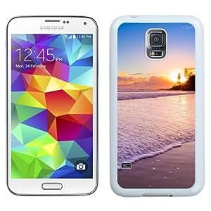 NEW Unique Custom Designed Samsung Galaxy S5 I9600 G900a G900v G900p G900t G900w Phone Case With Sunset At The Beach_White Phone Case