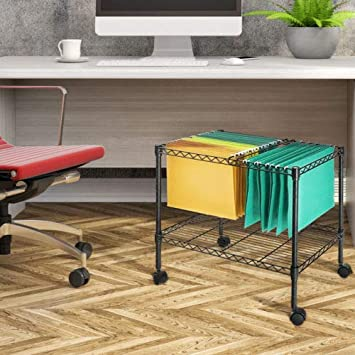 Zipperl Mobile File Cart Wire Metal Rolling Letter Legal 1-Tier File Carts Compact Swivel File Storage Organizer Shelf – Black