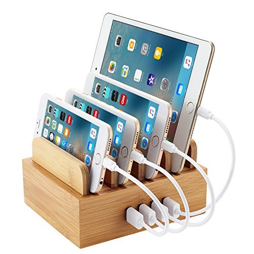 NEXGADGET 4 Port USB Charging Station [24W 2.4A MAX] Natural Bamboo Organizer Charging Stand / Dock / Holder For iOS & Android Smartphones, Tablets, Camera, and Other USB Powered Devices
